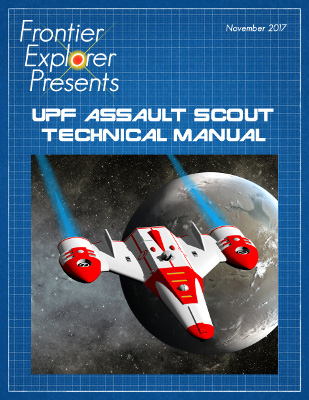 Cover of the technical manual featuring an image of the assault scout flying over a planet
