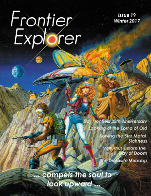 Cover image from issue 19 of the Frontier Explorer.  A crashed air car with two humans and an Yazirian standing in front of it.