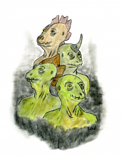busts of the four Saurian races